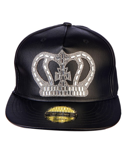 SWAROVSKI CROWN  all BLACK  leather snapback with adjustable snap ..