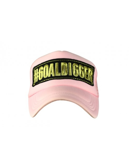 GOALDI66ER PINK half mesh trucker cap with adjustable snaps