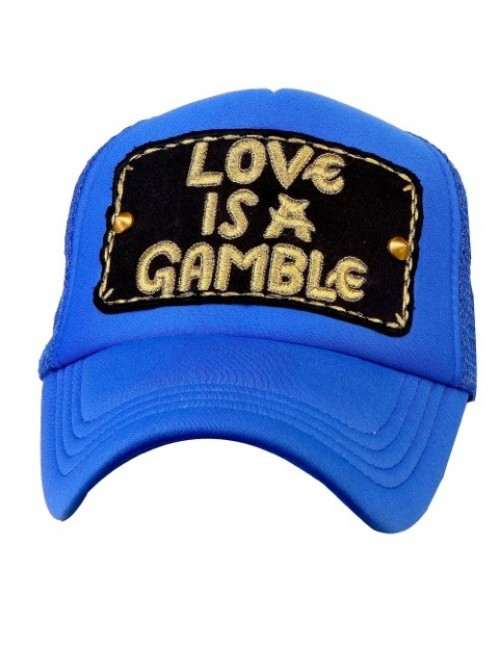 Love is a Gamble half mesh trucker cap with adjustable snaps