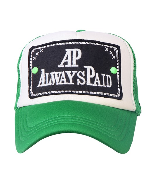 AP ALWAYS PAID   half  mesh trucker cap with adjustable snaps