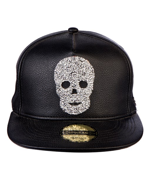 White Swarovski Skull All Black Leather Snapback with Adjustable Snap