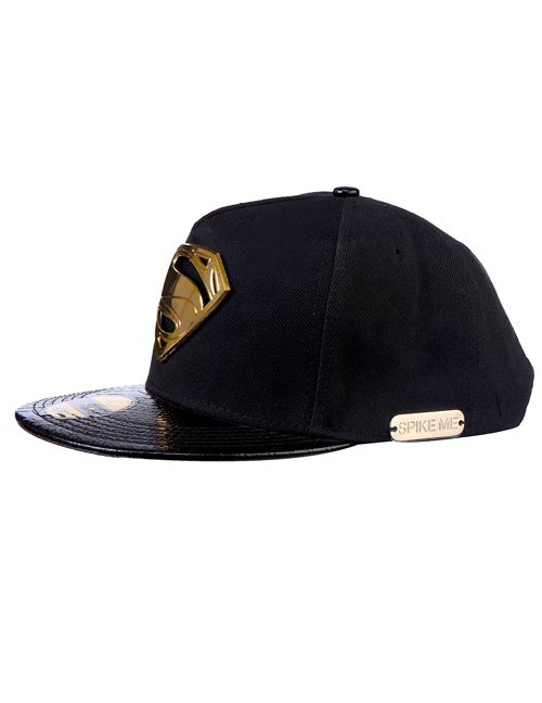All Black Super Man Gold Metal Accessory with Snake Skin HD Front Bat Snapback With Adjustable Snap