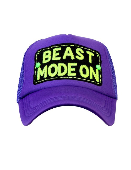 BEAST MODE ON   half mesh trucker cap with adjustable snaps