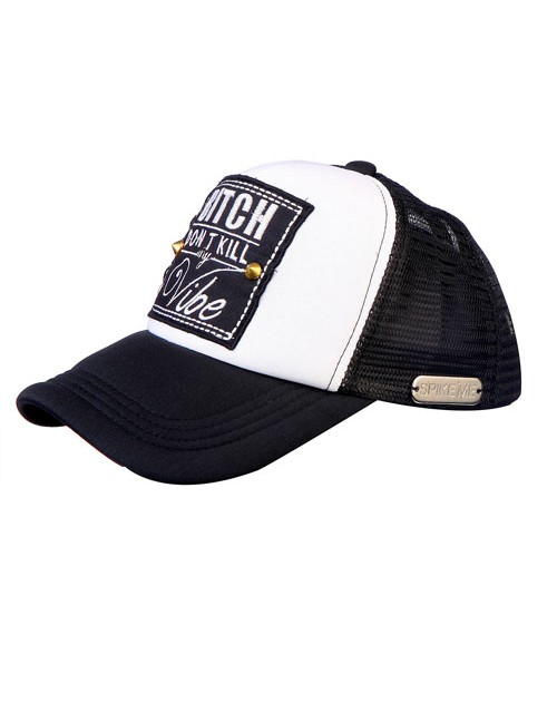 BITCH DONT KILL MY VIBE  half mesh trucker cap with adjustable snaps