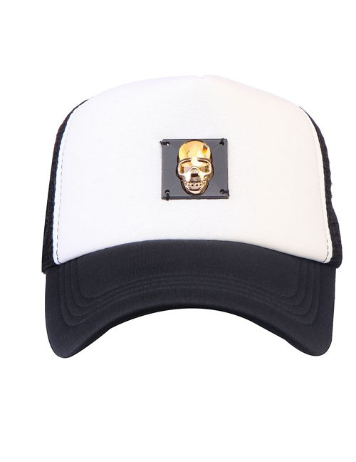 Gold Swarovski Metal Skul Accessory Half Mesh Trucker Cap With Adjustable Snap