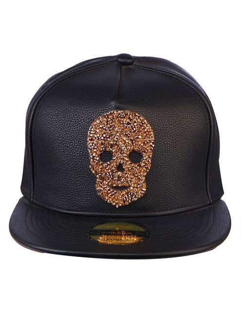 GOLD SWAROVSKI SKULL all black leather snapback with adjustable snap