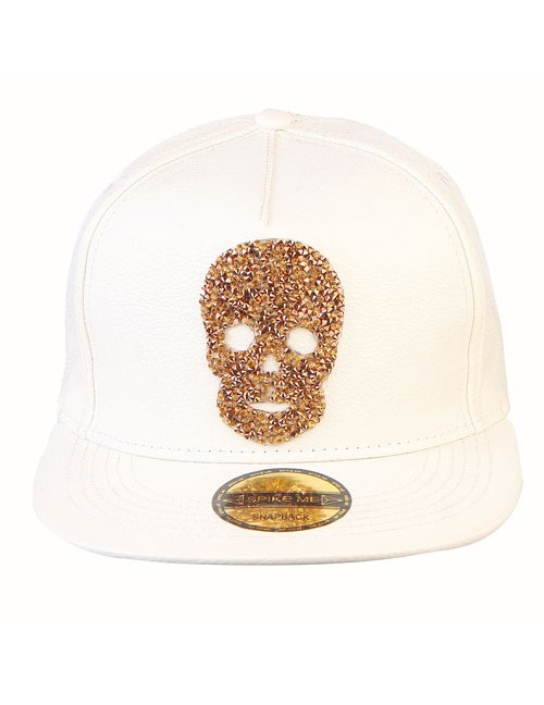 GOLD SWAROVSKI SKULL all white leather snapback with adjustable snap