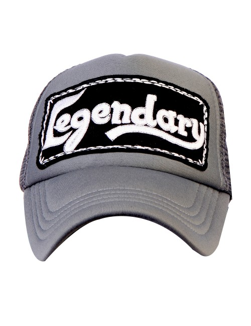 LEGENDARY  half mesh trucker cap with adjustable snaps .