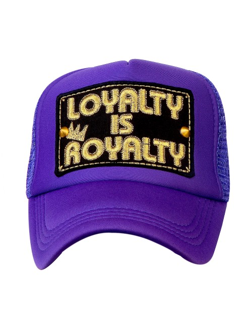 LOYALTY IS ROYALTY  half mesh trucker cap with adjustable snaps .