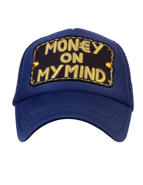 MONEY ON MY MIND   half mesh trucker cap with adjustable snaps .
