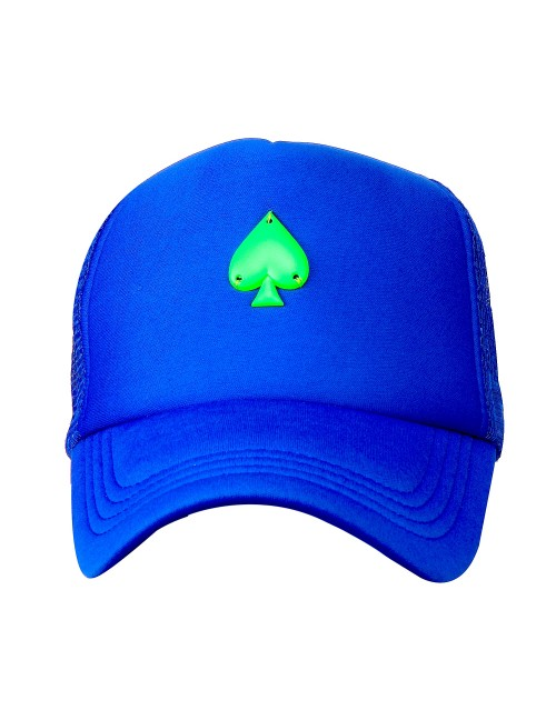 NEON GREEN SPADE METAL ACCESSORY half mesh trucker cap with adjustable snaps .