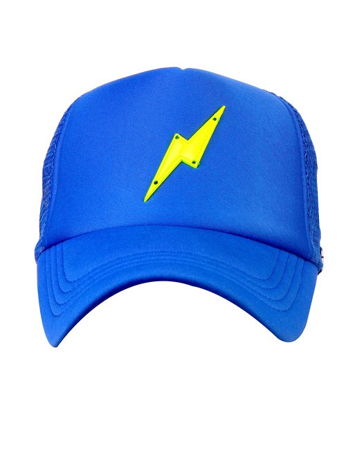 NEON GREEN BOLT METAL ACCESSORY half mesh trucker cap with adjustable snaps