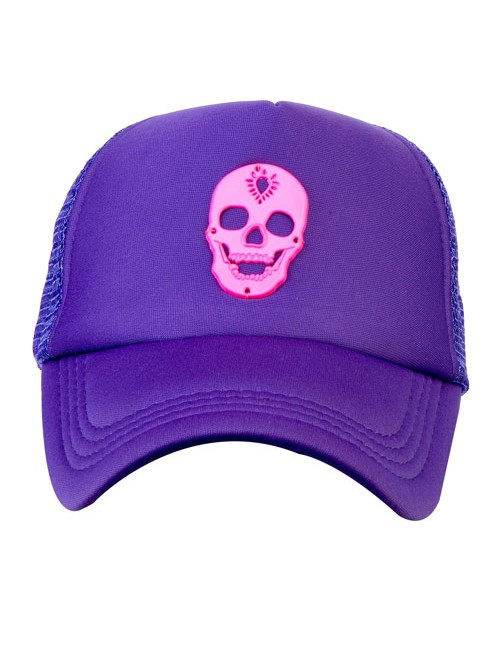 NEON PINK METAL SKULL  ACCESSORY half mesh trucker cap with adjustable snap