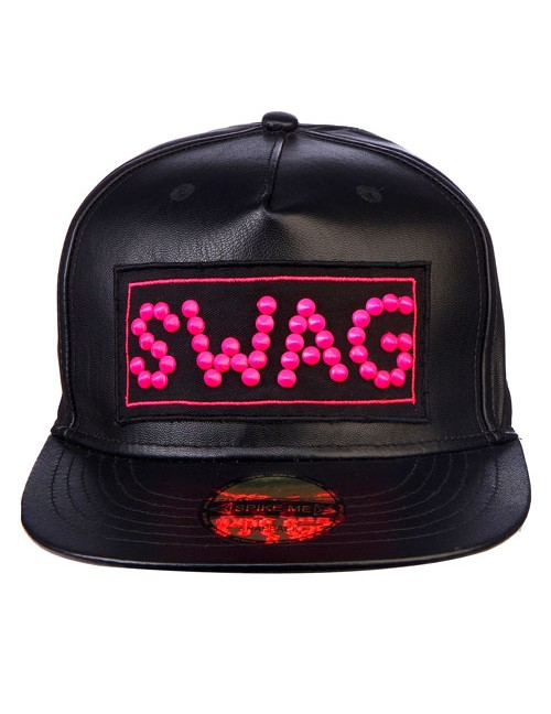 Pink all Metal Spikes Swag all Leather Snapback with Adjustable Snap