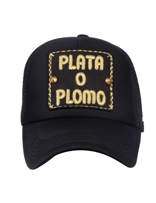 PLATA O PLOMO  half mesh trucker cap with adjustable snaps .