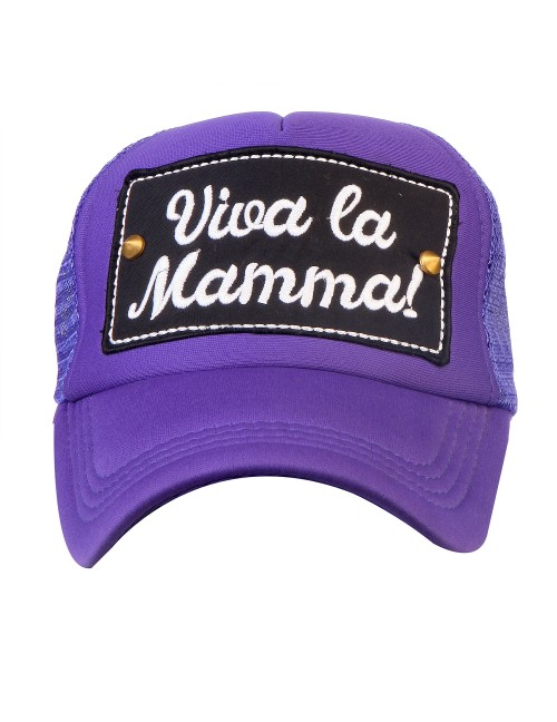 VIVA LA MAMMA!  half mesh trucker cap with adjustable snaps .