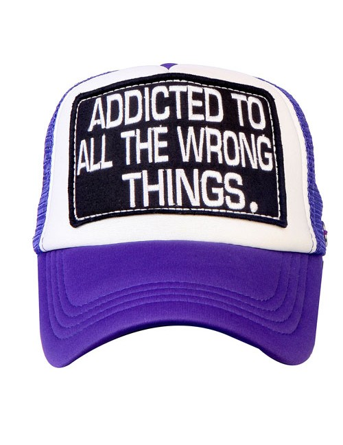 ADDICTED TO ALL THE WRONG THINGS  half mesh trucker cap with adjustable snaps