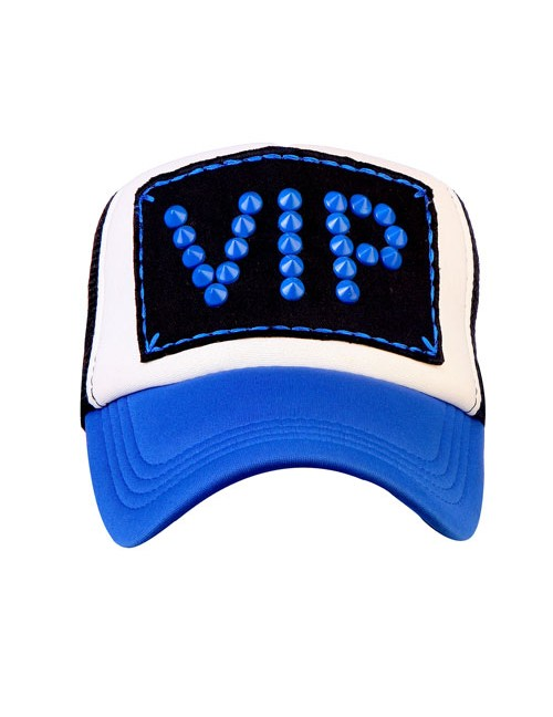 VIP BLUE METAL SPIKES  half mesh trucker cap with adjustable snaps
