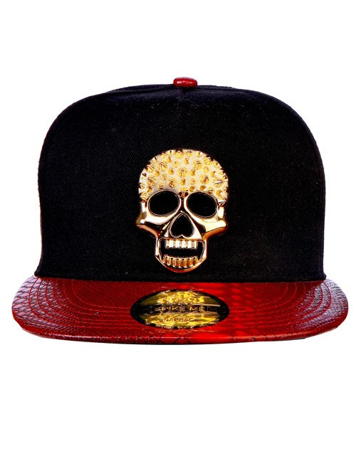 Black & Red Metal Spiked Skull with Snake Skin HD Front Bat Snapback with Adjustable Snap