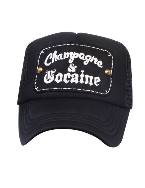 CHAMPAGNE & COCAINE  half mesh trucker cap with adjustable snaps