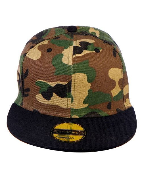 Camo & Black Bat Basic Snapback With Adjustable Snap