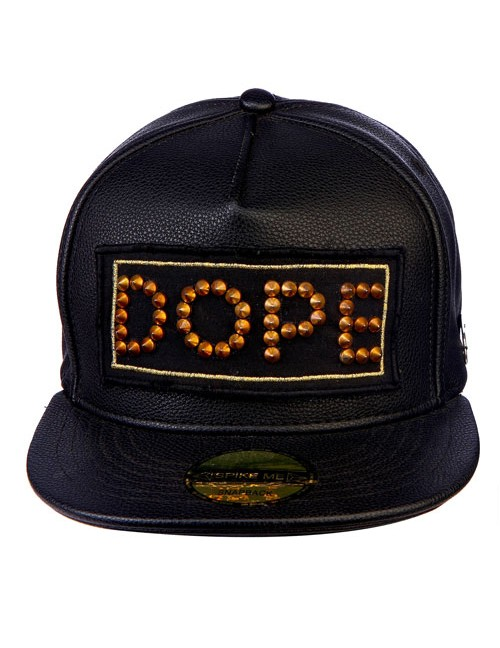 GOLD ALL METAL SPIKES DOPE  all leather snapback with adjustable snap
